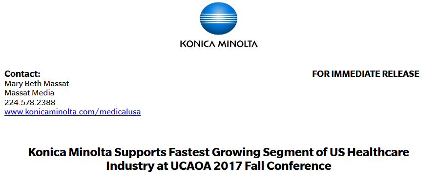 Konica Minolta Supports Fastest Growing Segment of US Healthcare Industry at UCAOA 2017 Fall Conference