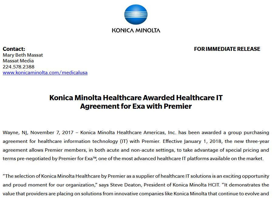 Konica Minolta Healthcare Awarded Healthcare IT Agreement for Exa with Premier