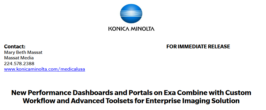 New Performance Dashboards and Portals on Exa Combine with Custom Workflow and Advanced Toolsets for Enterprise Imaging Solution