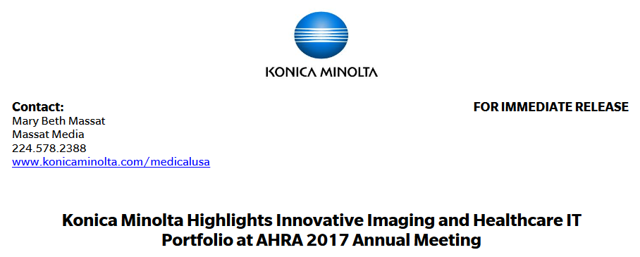 Konica Minolta Highlights  Innovative Imaging and Healthcare IT Portfolio at AHRA 2017 Annual Meeting