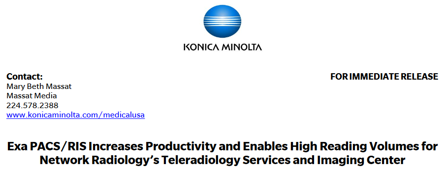Exa PACS/RIS Increases Productivity and Enables High Reading Volumes for Network Radiology's Teleradiology Services and Imaging Center